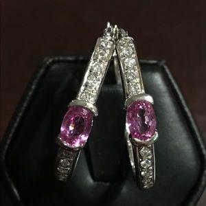 Jewelry - Hot Pink Sapphire and Diamond Hoop Earrings